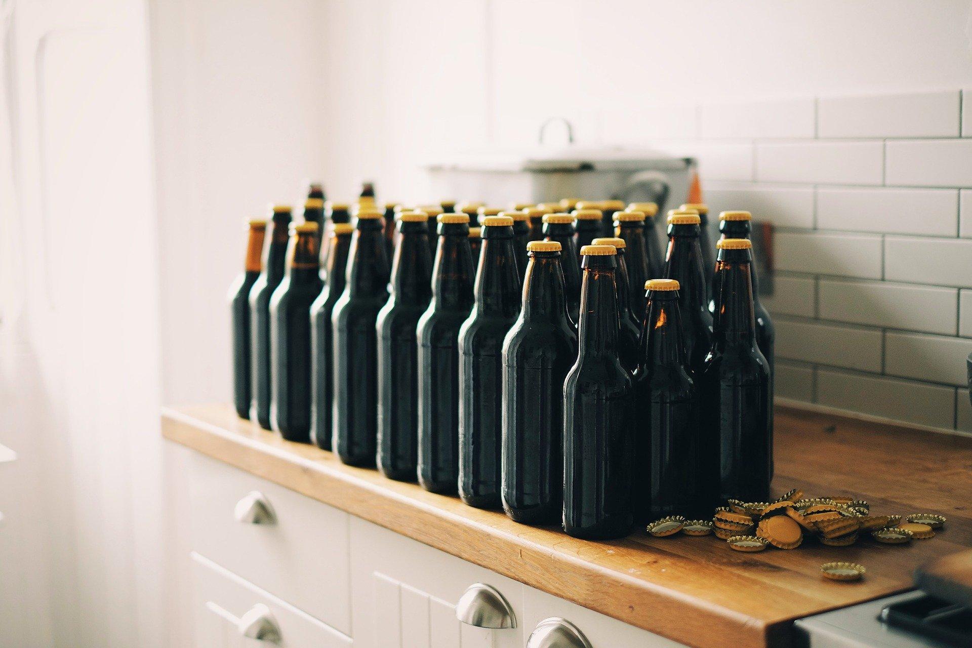 beer bottles on counter